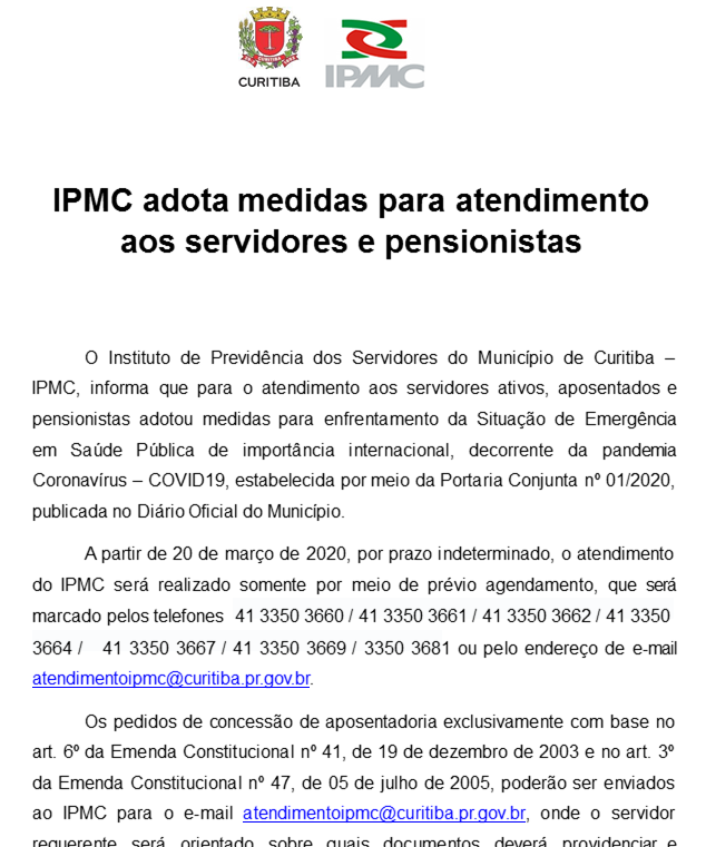 IPMC adota medidas para atendimento aos servidores e pensionistas